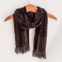 Rayon chenille scarf, 'Night Wind' - Brown Rayon Chenille Backstrap Loom Maya Scarf