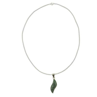Light green jade pendant necklace, 'Floating in the Breeze' - Fair Trade Sterling Silver Pendant Jade Necklace