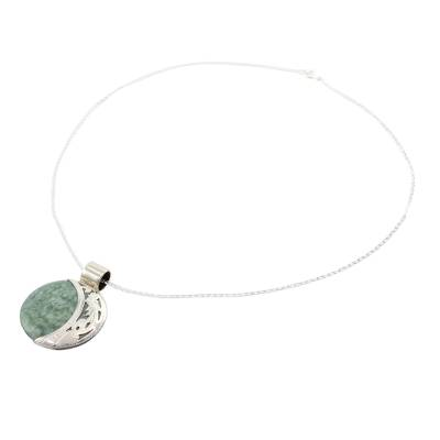 Sun & Moon Sterling Silver Green Black Jade Pendant Necklace