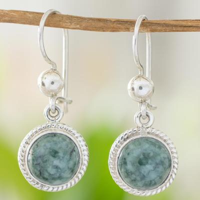Medium green jade dangle earrings, 'Green Apple' - Medium Green Guatemalan Jade Sterling Silver Dangle Earrings