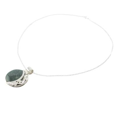 Eclipse Green Jade and Sterling Silver Pendant Necklace