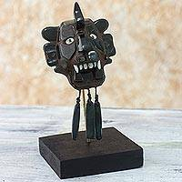 Jade mask, 'Zapotec Bat' - Hand Crafted Jade Zapotec Archaeological Replica Mask
