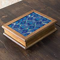 Wood and cotton tea box, 'San Martin Blue' - Alder Wood Tea Box with Blue Maya Handwoven Cotton Inset