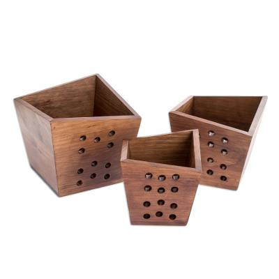 Handcrafted Wood Geometric Nesting Centerpieces (Set of 3)