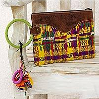 Cotton and leather accent wristlet bag, 'Colors of San Juan' - Hand Woven Cotton Wristlet Handbag with Leather Accent