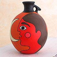 Ceramic decorative vase, 'Masaya Nightfall' - Man with Moon Signed Artisan Crafted Decorative Vase