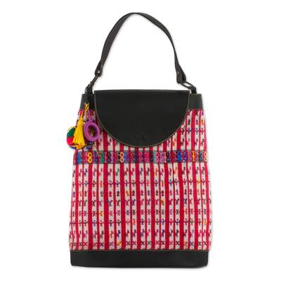 Cotton and Leather Accent Handbag Hand Woven in Guatemala