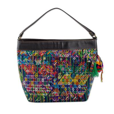 Animal Theme Shoulder Bag Handwoven Cotton and Leather