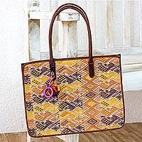 Cotton and leather accent handbag, 'Quetzaltenango Magic' - Hand Woven Cotton Handbag with Leather Handles and Trim