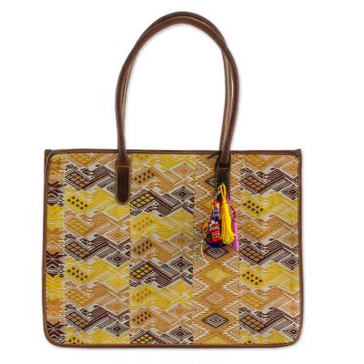 Hand Woven Cotton Handbag with Leather Handles and Trim