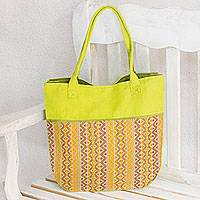 Cotton tote handbag, 'Maya Lemon' - Handwoven Yellow and Orange Tote Handbag from Guatemala