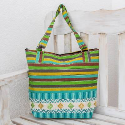 Cotton tote handbag, 'Joyous Colors' - Guatemalan Handwoven Green, Yellow, Turquoise, and Pink Tote