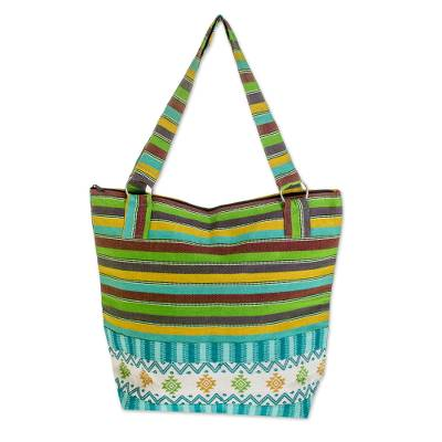 Guatemalan Handwoven Turquoise Cotton Tote with Green Yellow