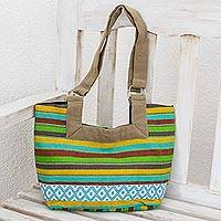 Cotton tote handbag, 'Colorful Cocoa' - Guatemalan Hand Woven colourful Striped Cotton Tote