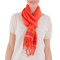 Cotton scarf, 'Orange Bouquet' - Hand Woven Cotton 14-Inch Wide Scarf with Floral Borders