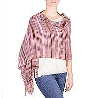 Cotton shawl, 'Blossoming Days' - Fair Trade Pink-Brown Hand Woven Cotton Shawl Wrap