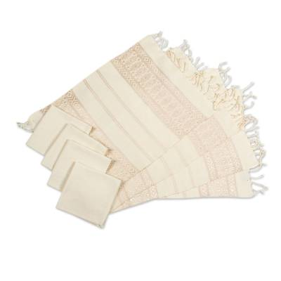Cotton placemats and napkins, 'Textures' (set for 4) - Hand Woven Set of 4 Ivory Cotton Placemats and Napkins