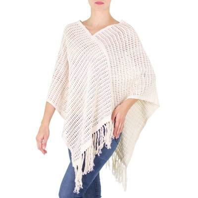 Handloomed Open Weave Cream Color Cotton Poncho