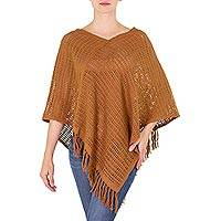 Cotton poncho, 'Espresso Lattice' - Guatemalan Handloomed Open Weave Brown Cotton Poncho