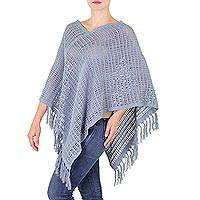 Cotton poncho, 'Steel Lattice' - Guatemalan Handloomed Open Weave Blue-Grey Cotton Poncho