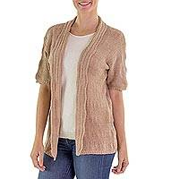 Cotton cardigan sweater, 'Cafe au Lait' - Open Short Sleeve Cotton Cardigan Sweater