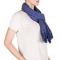 Cotton scarf, 'Navy Grey Lanquin' - Striped Blue-Grey Cotton Scarf Hand Woven in Guatemala