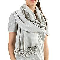 Cotton scarf, 'White Light Grey Lanquin' - Hand Woven Grey-White Striped Cotton Scarf from Guatemala
