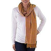 Cotton scarf, 'Golden White Lanquin' - Hand Woven Cotton Scarf in Golden Yellow and White
