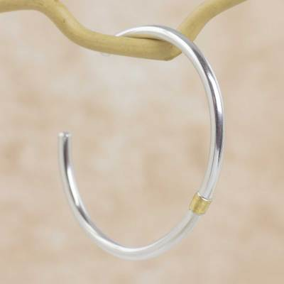 Gold accent sterling silver cuff bracelet, 'Sun and Moon' - Sterling Silver Cuff Bracelet with 21k Gold Accent
