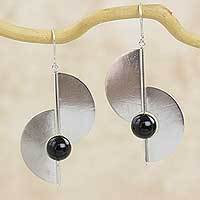 Onyx dangle earrings, 'Two Moons' - Modern Geometric Sterling Silver and Onyx Hook Earrings