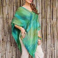 Rayon chenille poncho, 'Ethereal Turquoise' - Backstrap Loom Rayon Chenille Poncho with Fringe