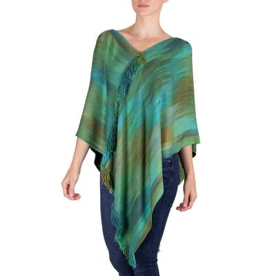 Backstrap Loom Bamboo Fiber Poncho with Fringe