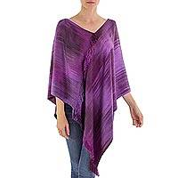 Rayon chenille poncho, 'Ethereal Lilac' - Backstrap Loom Purple Bamboo fibre Handwoven Poncho