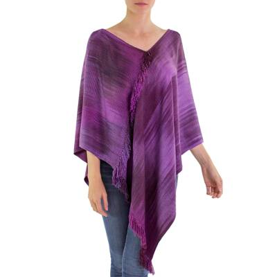 Backstrap Loom Purple Bamboo Fiber Handwoven Poncho
