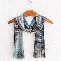 Bamboo fiber scarf, 'Waves on the Lake' - Backstrap Bamboo Fiber Handmade Scarf in Blue and Grey