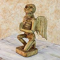 Wood sculpture, 'Kamik' - Hand Carved Pine Skeleton Sculpture with Detachable Wings