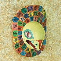 Wood mask, 'Guacamaya' - Colorful Hand Carved Pinewood Macaw Wall Mask from Guatemala