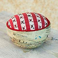 Recycled paper box, 'Birds of San Lucas' - Upcycled Paper Box with Hand Woven Cotton Lid