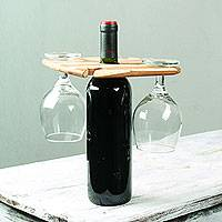 Teakwood wine bottle and glass holder, 'Cheers!' - Teakwood Holder for Wine Bottle and Four Glasses