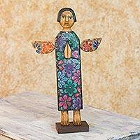 Wood sculpture, 'Angel of Purity' - Hand Carved Wood Angel Sculpture with Rustic Finish