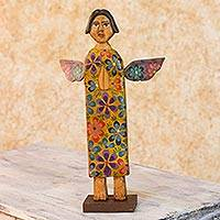 Wood sculpture, 'Angel of Freedom' - Rustic Pinewood Angel Sculpture Hand Carved Christian Art