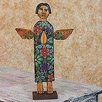 Wood sculpture, 'Healing Angel' - Hand Carved Rustic Pinewood Christian Angel Sculpture
