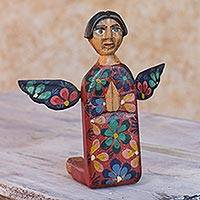 Wood statuette, 'Angel of Vitality II' - Kneeling Angel Artisan Crafted Wood Sculpture Statuette