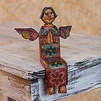 Wood statuette, 'Angel of Vitality III' - Guatemalan Artisan Crafted Sitting Angel Pinewood Sculpture