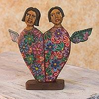 Wood sculpture, 'Angels of Love I' - Heart Shaped Pinewood Angel Sculpture Carved by Hand