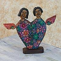 Wood sculpture, 'Angels of Love II' - Guatemalan Angel Heart Pinewood Sculpture Carved by Hand