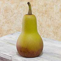 Wood sculpture, 'Golden Pear' - Handmade Central American 12-Inch Fruit Sculpture