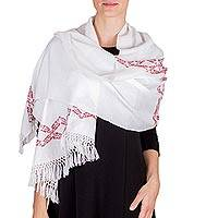 Cotton scarf, 'White Candelaria' - White Cotton Scarf with Red Floral Pattern Woven by Hand