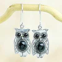 Jade dangle earrings, 'Dapper Owls'