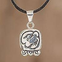 Sterling silver pendant necklace, 'Justice Nahual' - Sterling Silver Pendant Necklace Maya Calendar